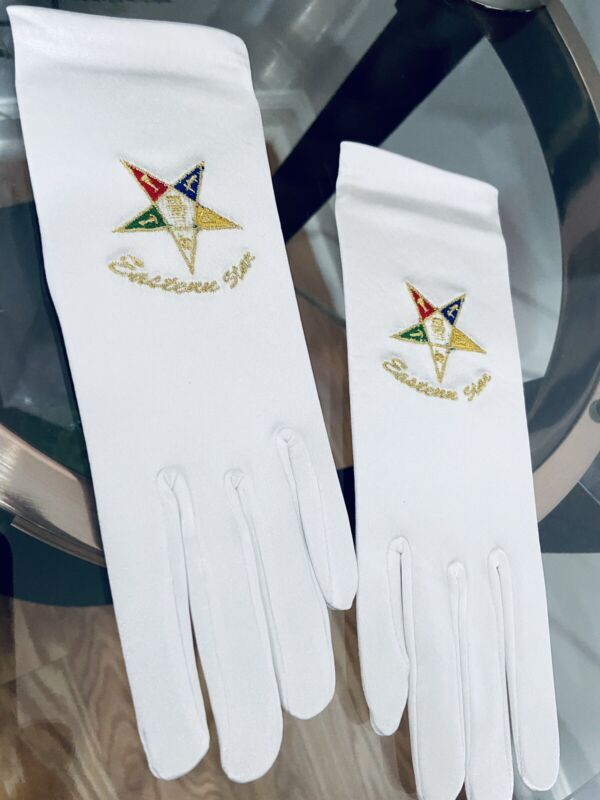 Masonic Eastern Star Gloves Stretch Satin Fabric Fits all Sizes