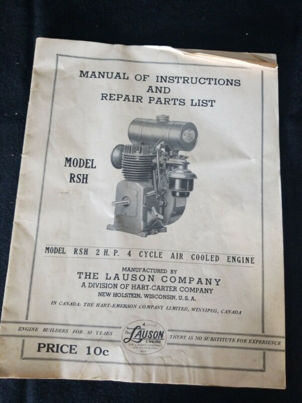 Manual Of Intructions MODEL RSH 2 HP 4 CYCLE AIR COOLED ENGINE Lauson Company