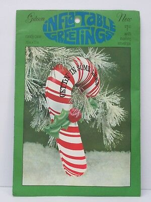 Vintage Gibson Inflatable Greetings Card Christmas Candy Cane Holly & Envelope