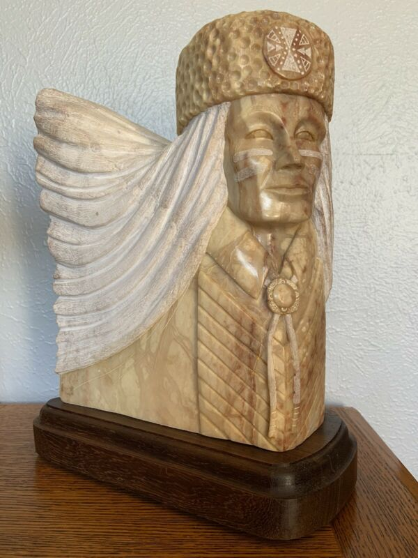 """Alabaster Sculpture By Leslie Pablo Navajo Artist Indian Guide 14"""" Tall 29 Lbs"""
