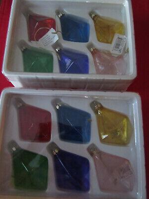 (12) Beautiful LG Diamond Shaped Glass Christmas Ornaments NIB ()