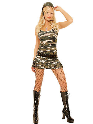 Cadet Cutie Army Camouflage Costume Adult Woman Military Medium](Adult Army Costume)
