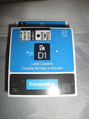 Dymo 160 Compatible D1 Label Cassette Tape Black Print White 12 X 23