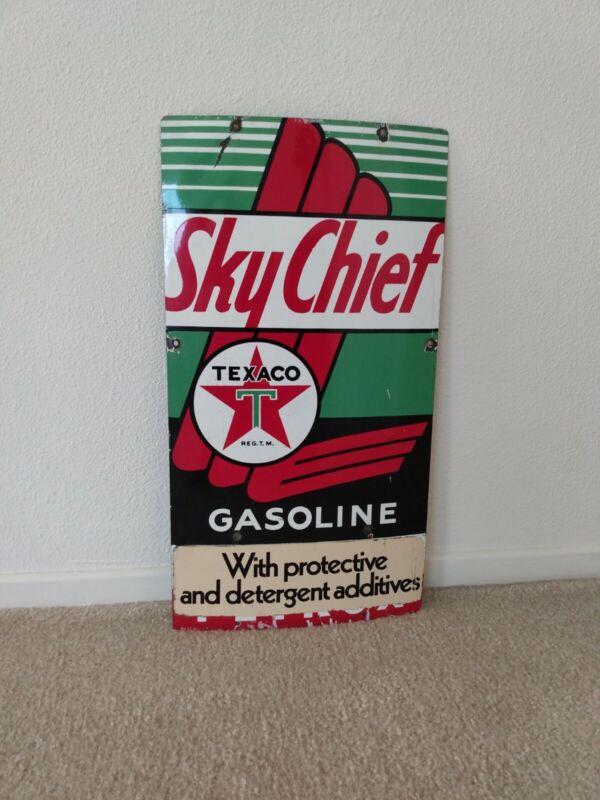 ORIGINAL Vintage 1958 Sky Chief Texaco Petrox Gasoline Gas Oil Pump Sign