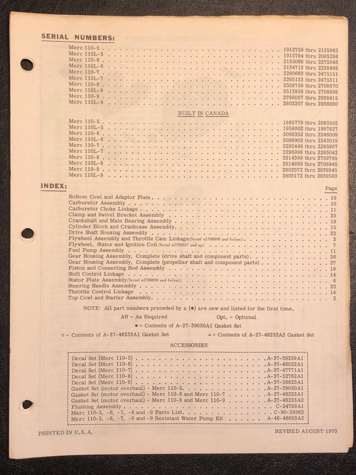 1970 Merc Mercury 110-5, L-5, L-6, L-7, L-8,9 Outboard Parts Manual List Catalog