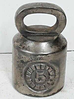 """Vintage Steel 5 Pound Scale Weight, Measures 3"""" diameter, 4.5"""" high"""