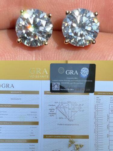 8ct TW Moissanite Huge Big Mens 10mm 14k Gold Vermeil Stud Earrings GRA D VVS1