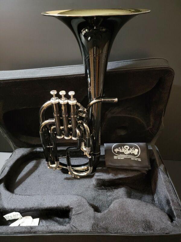 "JP Solario 421 Black & Silver Engraved Eb Alto Horn - Professional (8.75"" Bell)"