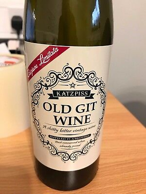 OLD GIT WINE Funny Novelty Wine Bottle Labels Joke Humour HAPPY BIRTHDAY ()