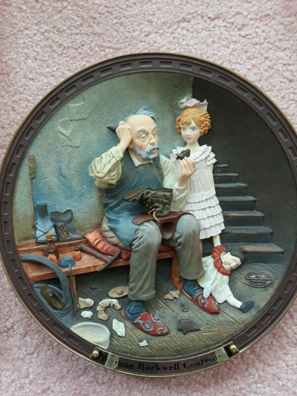 """Norman Rockwell Plate The Cobbler 1995 6-1/2"""" Collector Vintage COA"""