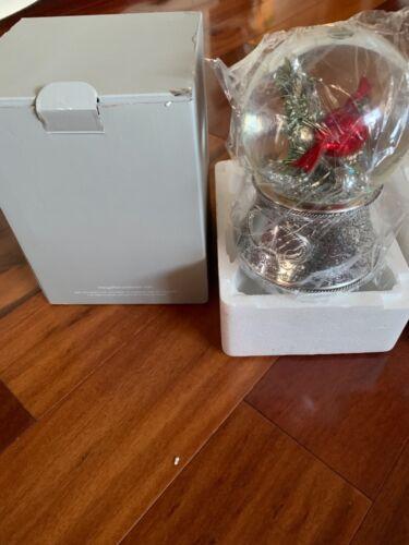 Things Remembered Musical Rotating Snow Globe Silver w/ Cardinal Merry Xmas