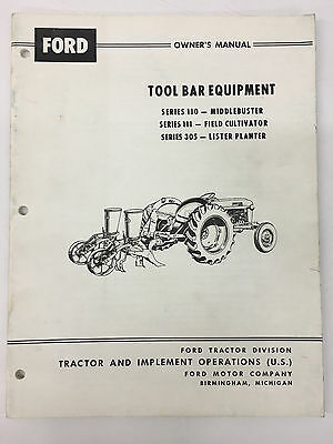 Ford Tractor Tool Bar Equipment Owners Manual