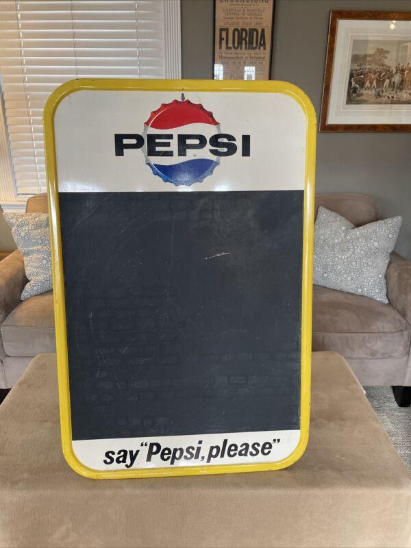 Vintage 1960s Original Pepsi Stout Metal Chalkboard sign
