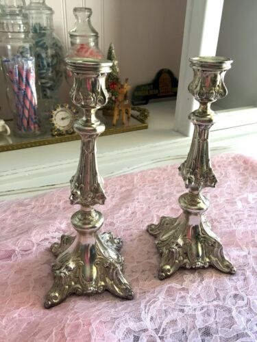 Antique Henneberg Warszawa Silver Plated Candle Sticks Art Deco Poland Victorian
