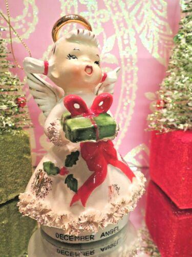 Vtg Lefton December HOLLY BERRY Angel W GIFT RED RIBBON SASH W TWO XMAS TREES