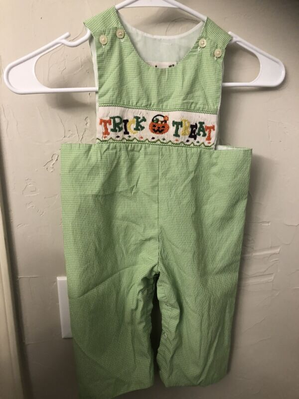 Hand Smocked Babeeni Boys Longall Romper Trick Or treat Halloween Size 12 Months