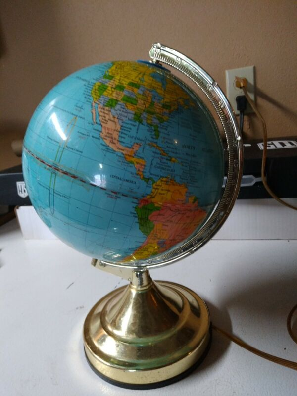 Nice Vintage Lighted 8 Inch Legend Illuminated World Globe ☆Works☆