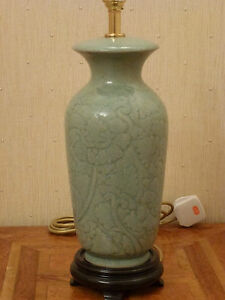 lamp base quality oriental porcelain table dark wood plinth brass ebay. Black Bedroom Furniture Sets. Home Design Ideas