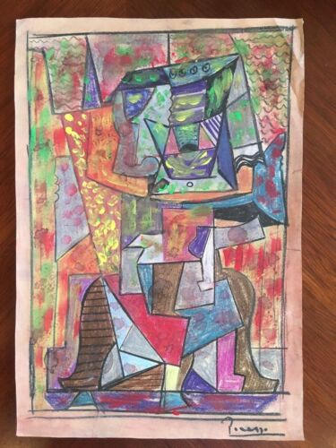 Cubist Original Watercolor Pastels Chalk Painting Signed Picasso Modern Abstract