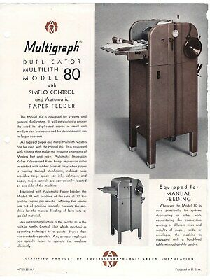 Vintage Copy Machines Ad Sheets & Letter: The MULTIGRAPH Duplicator Model 80 +