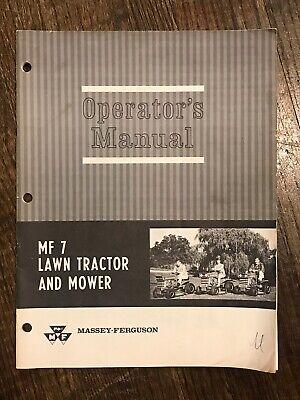 Massey Ferguson Mf 7 Lawn Garden Tractor Mower Operators Manual