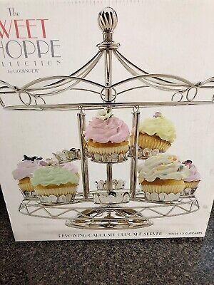 Godinger Carousel Revolving Cupcake Holder  Holds 12 Cupcakes Silver Chrome - Revolving-cupcake