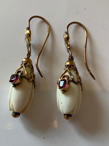 Georgian Gold Snow Drop Flower Ruby Set Pierced Earrings Fleur De Les Jewellery