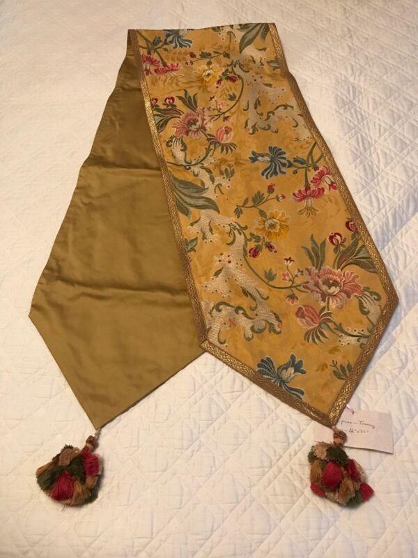 "FAB! VTG Golden Cotton Tapestry Brocade Real Metallic Trim Table Runner 12""x 72"""