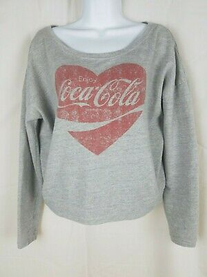 Coca Cola Women' Sweatshirt Washed Grey Red Heart w logo SZ S oversized EUC