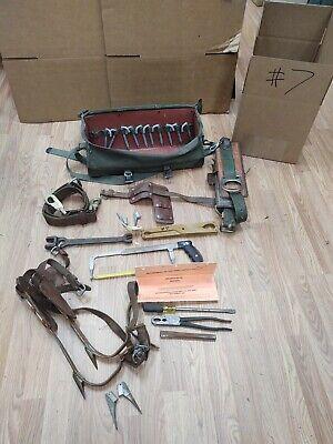 Buckingham Utilty Lineman Pole Climbing Gear Kit Spikes Belt Safety Strap Bag 7