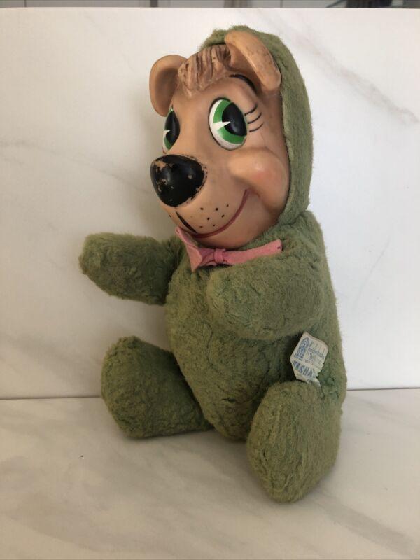 """Vintage 1959 Knickerbocker Huckleberry Hound 9"""" Plush Toy"""