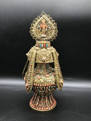 Unusual vintage Tibetan, Nepalese filigree and jeweled bottle