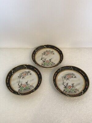 Antique Hand Painted Hand Crafted Floral Design Foreign 3 X Saucer Plates