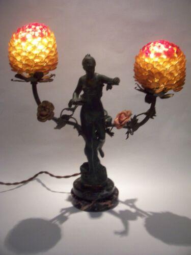 NOUVEAU CZECH FLOWER GLASS BEADED  BULB COVER SHADE BACCHANTES #2 LAMP MARBLE