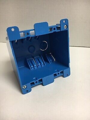 Double Gang Blue Plastic Interior Old Work Standard Outlet Wall Electrical Box