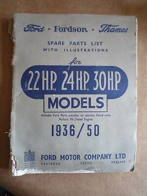 VINTAGE FORD FORDSON THAMES SPARE PARTS LIST 1936 - 1950 (INC PERKINS P6 DIESEL)