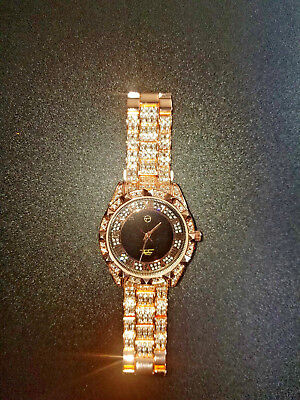 Mens Rose Gold Tone Simulated Diamond Techno Pave  Hip Hop Iced Out