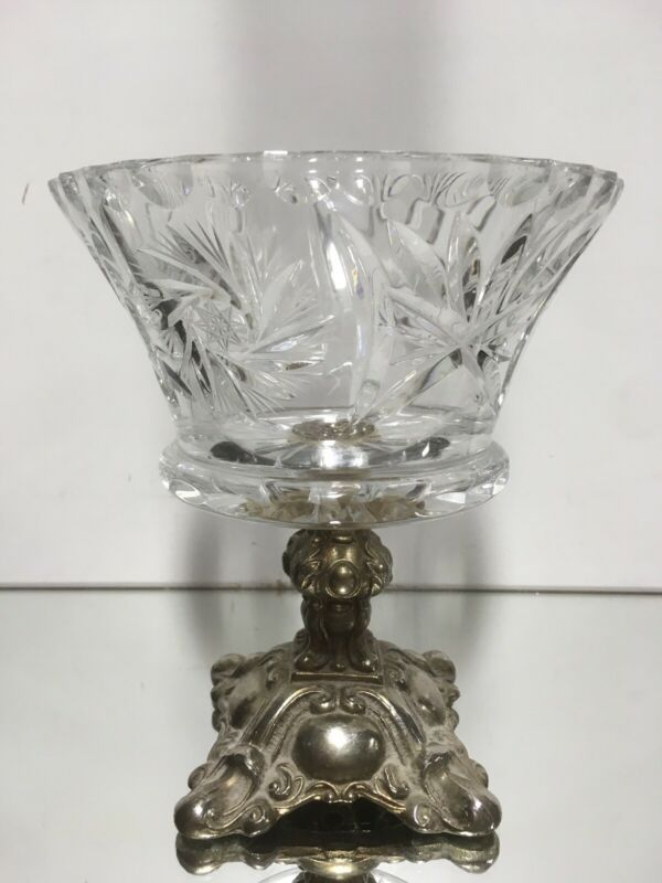 VTG. Clear Crystal Compote Metal Base Stand Centre Piece Bowl Candy Regency