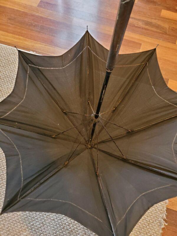 Vintage 19th Century Black Victorian Umbrella Parasol Wooden Handle Antique
