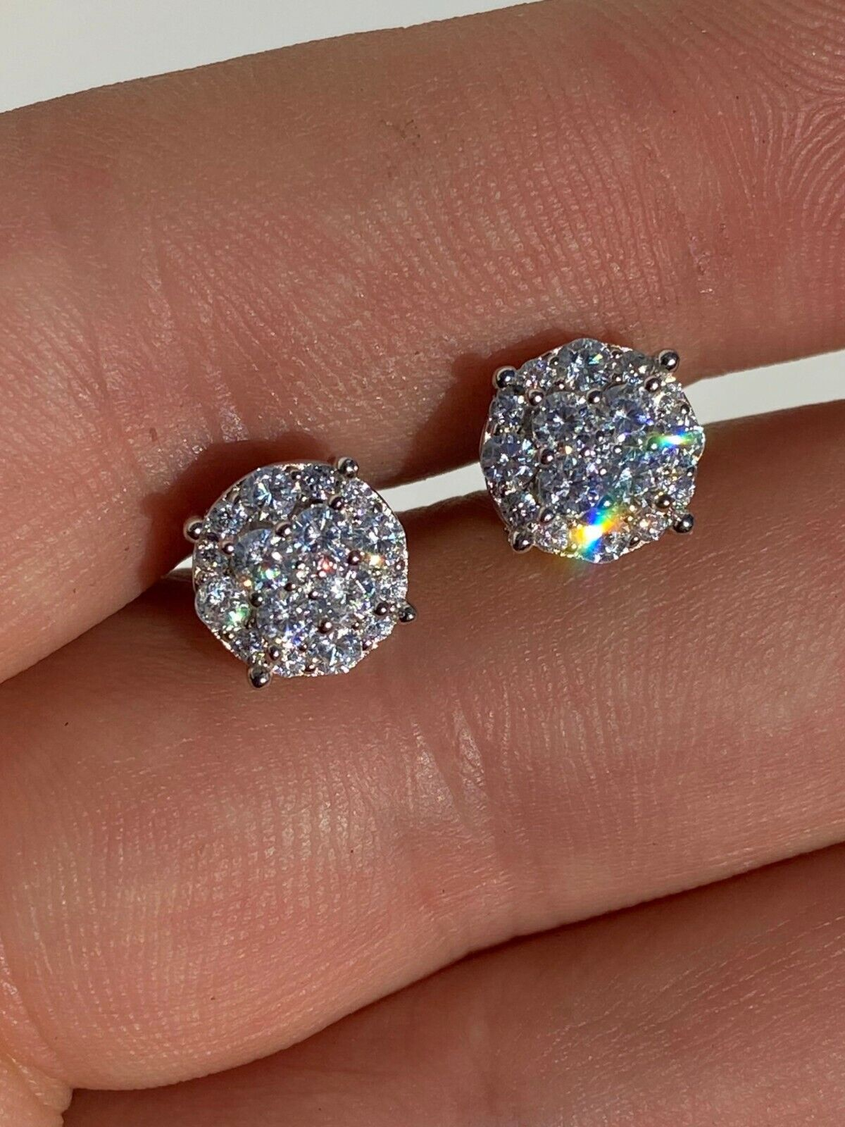 """Real Solid 925 Silver Iced CZ Hip Hop Men's Earrings 1/3"""" Cluster Round Studs"""