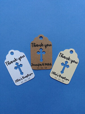 20 personalized CROSS favor tags for wedding, baptism, Christening. Christian