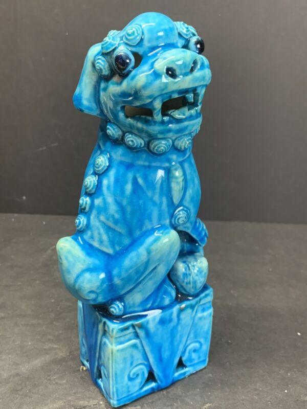"VTG Antique 19TH C. Chinese Beast Foo Dog Mudman Turquoise Glaze Figurines 8"" IN"