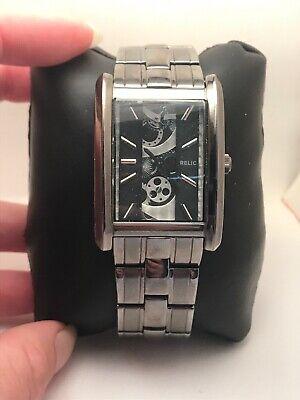 Relic by Fossil Mens Rect Skeleton Dial Gunmetal Quartz Watch ZR77133 H35