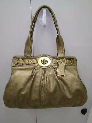 Coach Antique Gold Patent Leather Purse Large Tote Handbag Shoulder Bag - $498