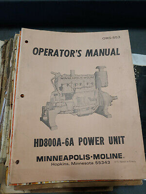Minneapolis Moline Hd800a-6a Power Units Operator Manual Oms-553