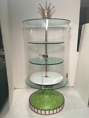 Gorgeous Dept 56 Rotating Clear Acrylic Locking Jewelry Display Case - Exc Cond