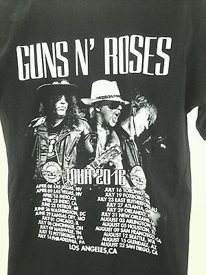 Guns N Roses Tour 2016 Los Angeles Logo Black Concert 2 sided T Shirt XL