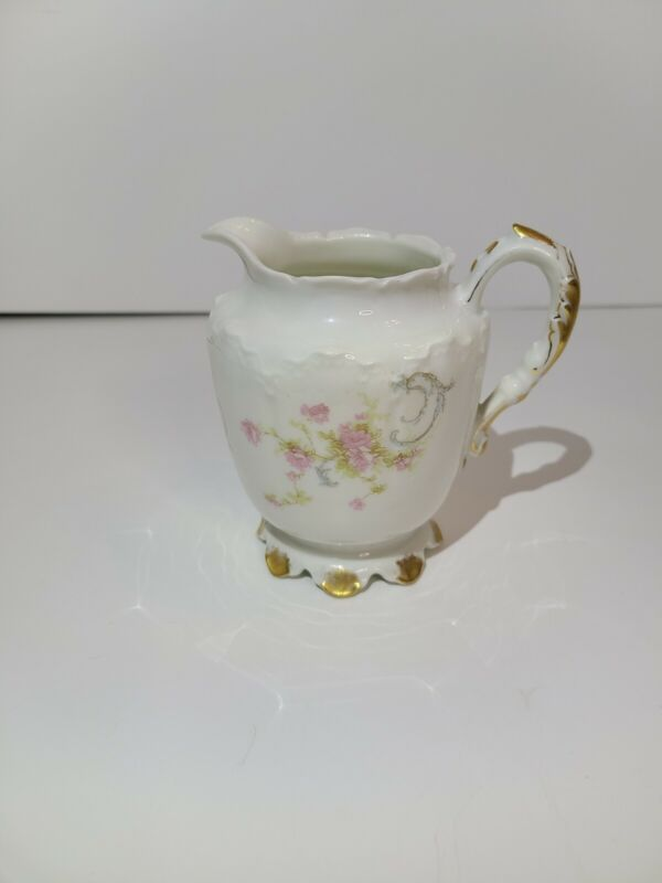 """Vintage Haviland & Co Limoges Creamer Flowers Gold Accents 4 1/4"""" Tall"""