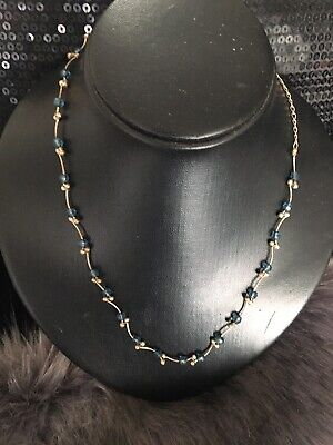Vintage Blue Stone Necklace On A Sliver Tone Neclace for sale  Shipping to South Africa