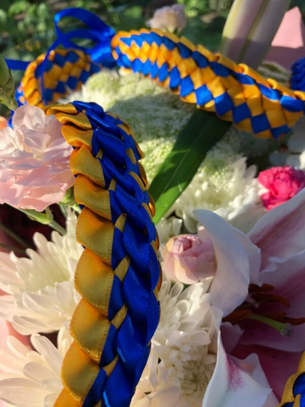 Royal Blue & Gold Satin Double Ribbon Graduation Lei (Custom orders available)